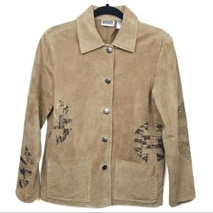 Chico's Design Suede Tribal Design Tan Jacket